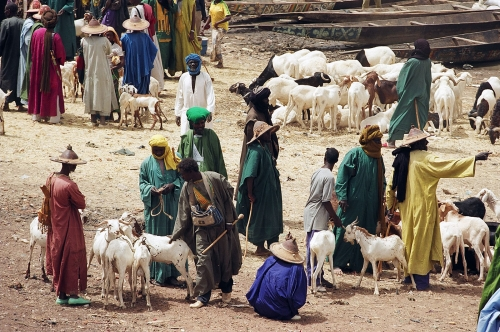 Mopti ville du sahel africain au Mali.